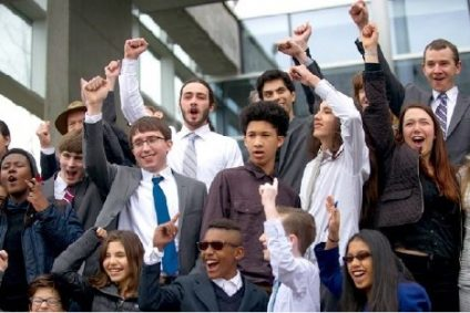 Group of cheering people in suits