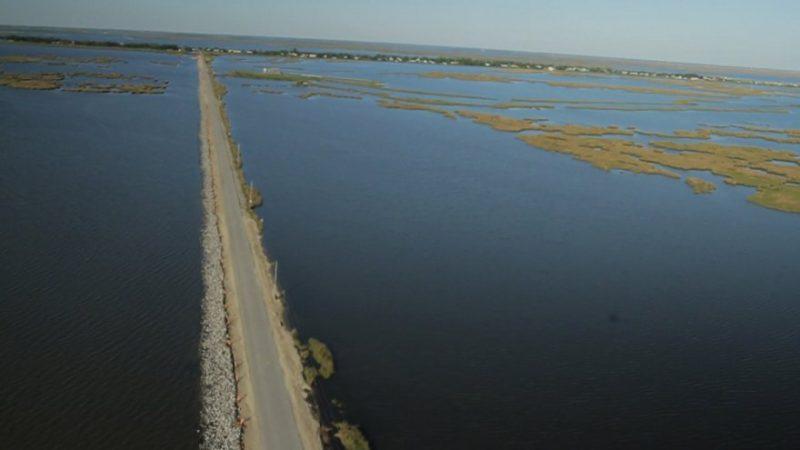 Long highway in marsh