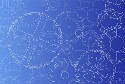 Cogs on Blue Background