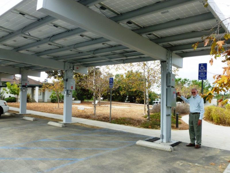 Photo of Solar Array above parking lot