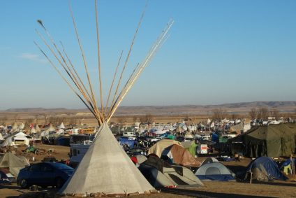 Photo of Standing Rock encampment by Shelley Tanenbaum