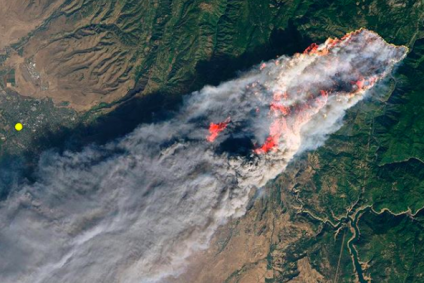 Aerial image of fire and smoke