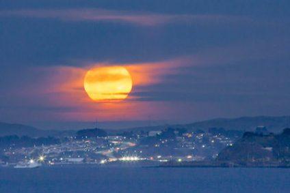 Super moon over San Francisco bay