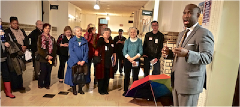 Image: Councilman Derek Green (right),a public banking advocate, addresses local lobbyists at Philadelphia City Hall on Lobby Day (Rita in blue and Pamela in teal). Photo: Stanley Shapiro.