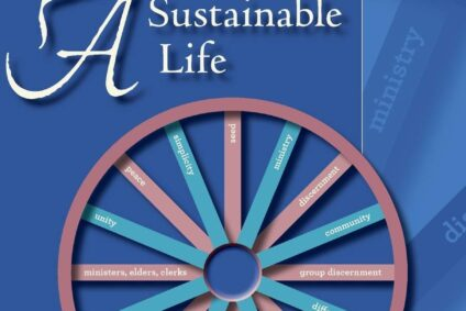 Blue book cover with pink and green wheel