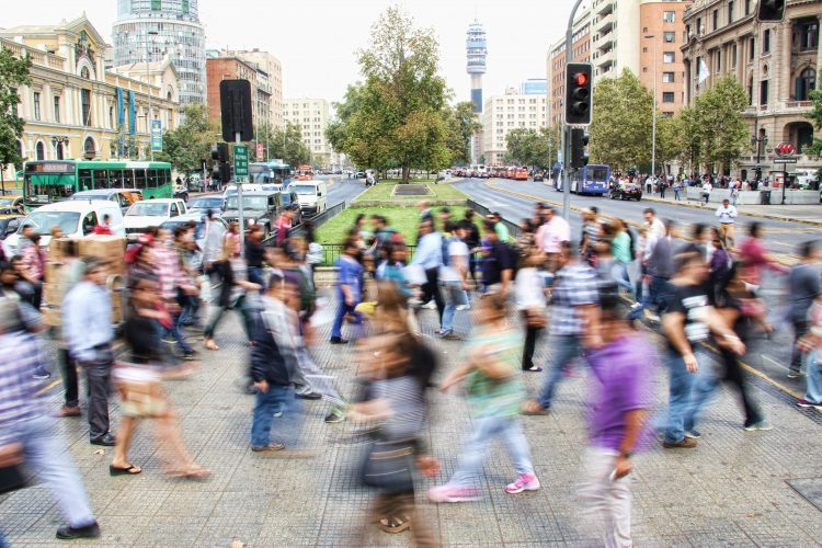 Crosswalk in long exposure in Chile, Santiago