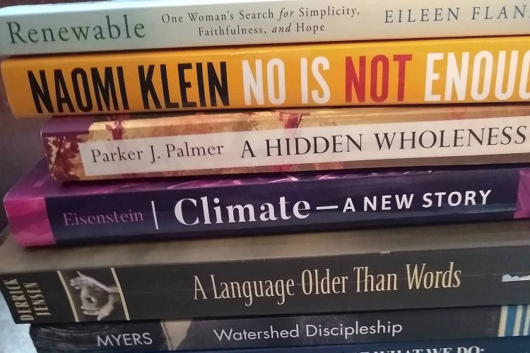 A pile of earthcare-related books
