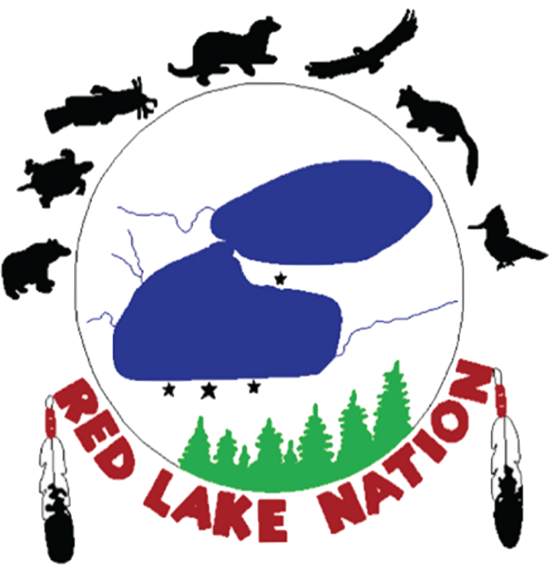 """Drawing of bodies of water, trees and animal silhouettes along the top with words """"Red Lake Nation"""" at bottom"""