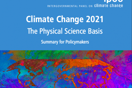 Climate Change 2021 IPCC Report with colorful image of lines that create Earth's country's borders superimposed over bright background